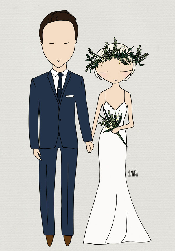 bride groom illustration