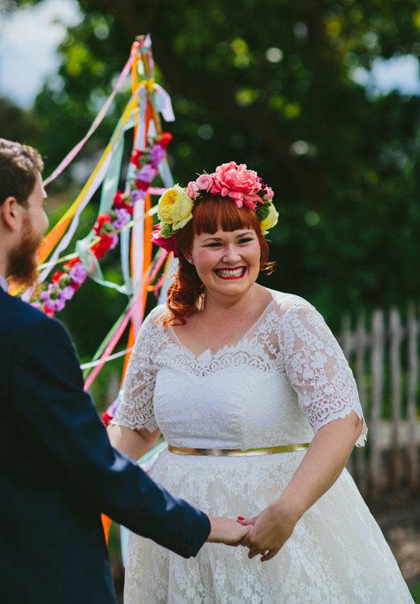 WA-bright-wedding-bridal-flowers-colourful-ribbons-diy-short-wedding-dress3