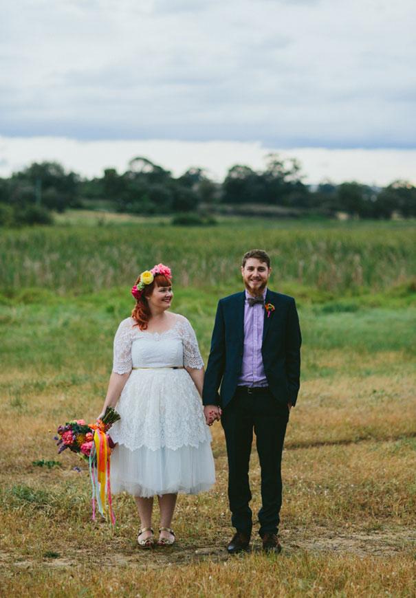 WA-bright-wedding-bridal-flowers-colourful-ribbons-diy-short-wedding-dress6
